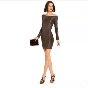 BCBGeneration Long Sleeve Metallic Mini Dress Sz M